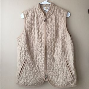 Talbots Light Weight Quilted Tan Vest Medium